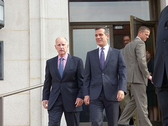 Democrats Jerry Brown and Eric Garcetti, serving as Governor of California and Mayor of Los Angeles