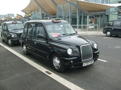 A TX4 hackney carriage at Heathrow Airport Terminal 5