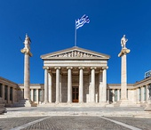 "The Academy of Athens, designed as part of an architectural ""trilogy"" in 1859 by the Danish architect Theophil Hansen, along with the University and the National Library"
