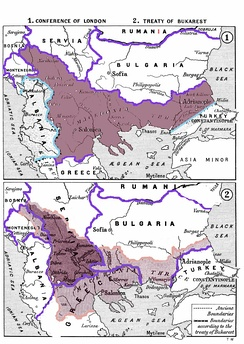 The division of the Ottoman territories in Europe (incl. the region of Macedonia) after the Balkan Wars according to the Treaty of Bucharest