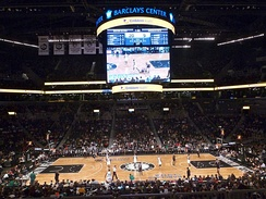 Interior view of the Barclays Center during an NBA game
