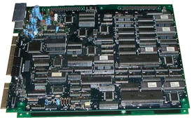 Two Hitachi 68HC000 CPUs being used on an arcade-game PCB