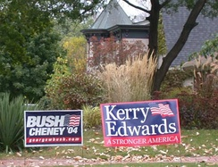 Neighboring yard signs for Bush and Kerry in Grosse Pointe, Michigan