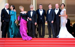 Fonda with the director and stars of Youth at the 2015 Cannes Film Festival.
