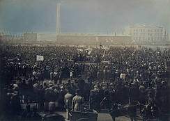 The Chartists met on Kennington Common during the Revolutions of 1848 to demand democratic reform.