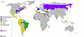 Map of colonial empires throughout the world in 1754