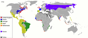 European colonial empires at the start of the Industrial Revolution, imposed upon modern political boundaries.