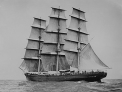 Cutty Sark with sails set. Photograph taken at sea by Captain Woodget with a camera balanced on two of the ship's boats lashed together.
