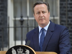 Cameron announcing his resignation as Prime Minister in the wake of the UK vote on EU membership.