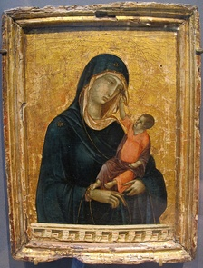 Madonna with child, the child touching the virgin's veil