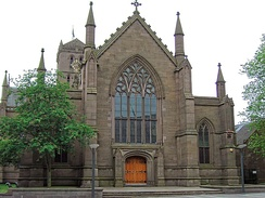 Dundee Parish Church, St Mary's is one of three of the Dundee's City Churches which are joined together; only two function as places of worship: St. Mary's and St. Clement's (the Old Steeple) which can be seen in the background.