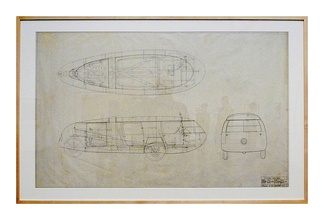 Framed illustration of the Dymaxion car.