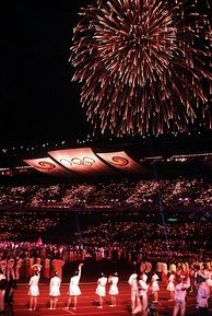 Fireworks at the closing ceremonies of the 1988 Summer Olympics in Seoul