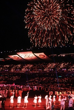 Fireworks at the closing ceremony of the 1988 Summer Olympics