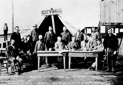 The first Vancouver City Council meeting following the Great Vancouver Fire in 1886.
