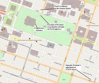 Ford assassination attempt in Sacramento location map