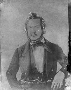 "A calotype showing the American photographer Frederick Langenheim, circa 1849. The caption on the photo calls the process ""Talbotype""."