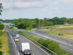 The A26 autoroute at its intersection with the A2, near Cambrai