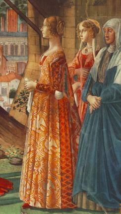 Giovanna Tornabuoni [it] and her attendants in Italian fashion of the 1480s. The tight slashed sleeves reveal the full chemise sleeves beneath. She wears a giornea over a kirtle or gamurra.