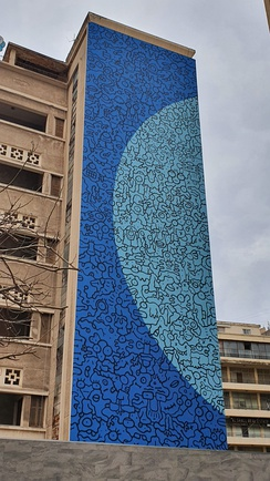 Contemporary graffiti on an old building in Beirut, Lebanon