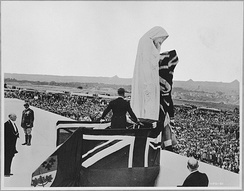 King Edward VIII, in his capacity as the king of Canada, unveils the Vimy Memorial in France, July 1936.