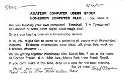 Invitation to first Homebrew Computer Club meeting (sent to Steve Dompier).