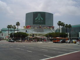 Los Angeles Convention Center during E3 2005, with Atari banner hangs over the South Hall lobby
