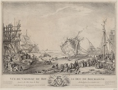 The side launch of Duc de Bourgogne at Rochefort on 20 October 1751.