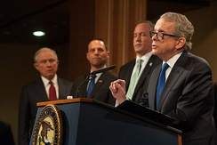 DeWine delivers remarks at the Department of Justice in 2018