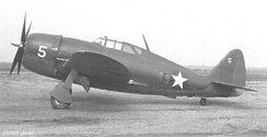 P-47B-RE 41-5905 assigned to the 56th FG at Teterboro Airport. Note the windows behind the cockpit and the sliding canopy, an indication that this was an early production P-47B.