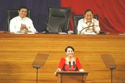 Gloria Macapagal Arroyo delivers her 7th State of the Nation Address at the Batasang Pambansa