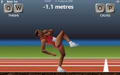 Screenshots and footage of Flash games QWOP, Solipskier, and Hundreds