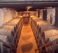 Sherry maturing in oak barrels