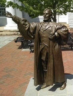 Peter Muhlenberg statue in front of the Shenandoah County Courthouse in Woodstock, Virginia