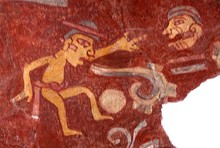 A mural in Teotihuacan, Mexico (c. 2nd century) depicting a person emitting a speech scroll from his mouth, symbolizing speech