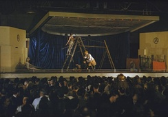 Dancers from the Ballet Rambert, under the auspices of CEMA, a government programme, perform Peter and The Wolf at an aircraft factory in the English Midlands during World War II.