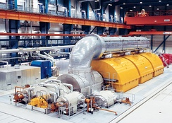 A turbo generator transforms the energy of pressurised steam into electrical energy