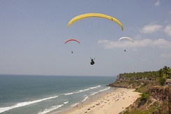 Paragliding at Varkala Beach.