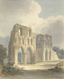 View of ruined transept of Roche Abbey by John Buckler, watercolour, 1810