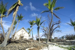 Damaged trees and debris left by Super Typhoon Ioke in 2006 at the Memorial Chapel on Wake Island