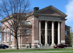 Webster Hall, at Dartmouth College, houses the Rauner Special Collections Library, which holds some of Webster's personal belongings and writings, including his beaver fur top hat and silk socks.