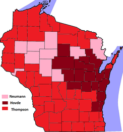 Results of the 2012 Wisconsin Republican Senatorial Primary with winner indicated by county.
