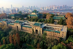 The old library (center), dorm (below), and schools of literature and law (left and right) of Wuhan University
