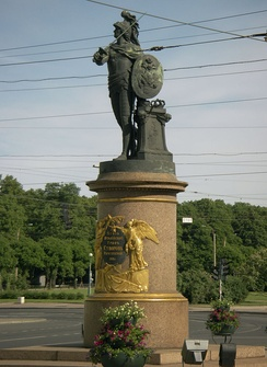 Monument to Suvorov as youthful Mars, the Roman god of war, by Mikhail Kozlovsky in St. Petersburg (1801)
