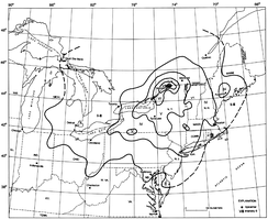 Isoseismal map for the earthquake