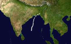 Bhola cyclone track during the second week of November 1970
