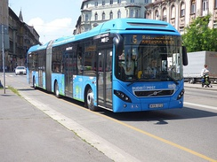 A Volvo 7900A Hybrid in Budapest on Line 5 operated by BKK
