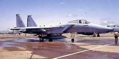 555th Tactical Fighter Training Squadron McDonnell Douglas F-15A-11-MC Eagle 74-0111, arrival at Luke AFB, November 1974. First production F-15A arrival for training.
