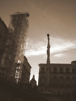 A digitally sepia-toned image taken in 2011 of the Reina Sofia Museum in Madrid