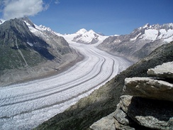 Another view of the Aletsch Glacier in the Swiss Alps, which because of global warming has been decreasing